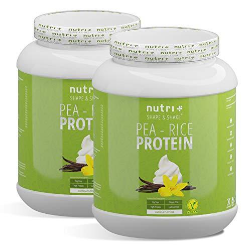 VEGANES EIWEIßPULVER sojafrei - Vanille 2kg - Proteinpulver ohne Gluten, Laktose, Zucker - Nutri-Plus Erbsenreis-Protein - Eiweiß Pulver Vegan - In Deutschland hergestellt