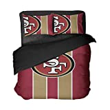 San Francisco Sport Bedding Sheet Sets California Football Red and Brown Vertical Stripes Duvet Cover Set King Size (Red and Brown, Twin 3pcs)