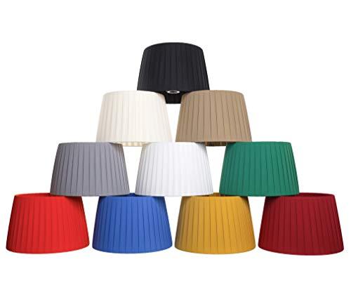 Pantalla para lámpara y araña de tela de seda de calidad totalmente hecha a mano: 12 colores forma tronco cono (negro, 25 cm (casquillo E27)