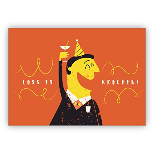 Komische humor verjaardagskaart ook voor oudejaarsavond met prostenend heren: laat het kraken • mooie felicitatiekaarten met enveloppen voor beste vrienden en lievelingsmensen. 4 Grußkarten
