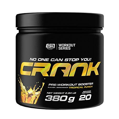 ESN Crank – 380g – Tropical Punch – 20 Portionen – kompletter Pre Workout Booster – Sport, Fitness, Bodybuilding – Vegan – Made in Germany