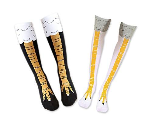 ds. distinctive style 2 Paar Frauen Mädchen Hähnchenschenkel Socken Kniestrümpfe Neuheit Cosplay Baumwollsocken (Schwarz und Weiß)
