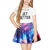 TENMET Girls Digital Print Stretchy Flared Pleated Casual Mini Skirt 8-11Years