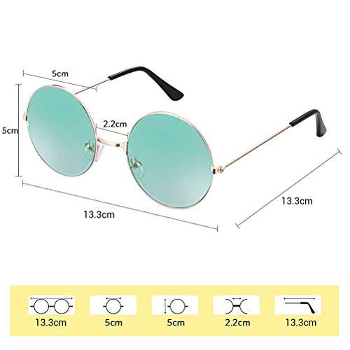 Schimer Klassische Lennon Runde Polarisierte Sonnenbrille mit UV400 Schutz Retro Lennon Sonnenbrille Vintage Polarisierte Linsen Metall Gestell Rundbrille Hippi Brille Outdoor-Brille für Frauen Männer
