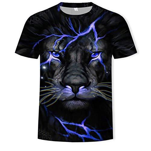 Treer 3D Camiseta para Hombre, Animal Impresión Verano Manga Corta Casual Hipster Unisex Fit tee Shirts Camisetas Hombre Personalizada Divertidas Blusa Tops S-5XL (León Morado,4XL)