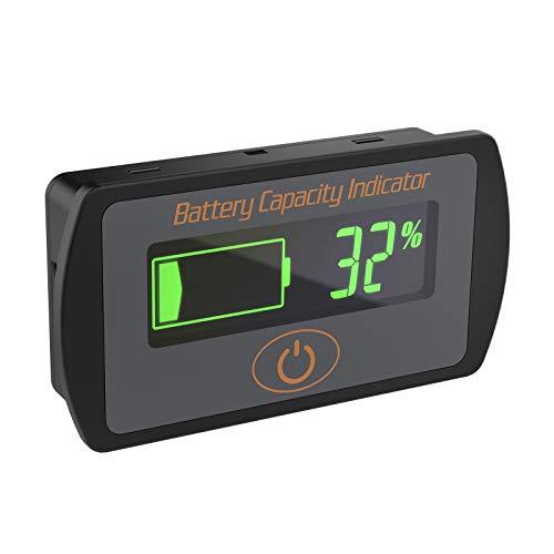 Battery Capacity Indicator DROK DC 5V 66V Lead Acid Battery Percentage Voltage Tester 12V 24V 36V Electric Quantity Volt Detector Meter Panel Gauge Lithium Battery Status Monitor for Car Vehicle