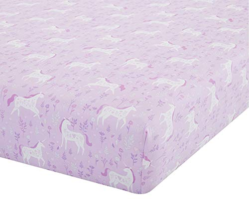Catherine Lansfield Folk Unicorn Easy Care Single Fitted Sheet Pink