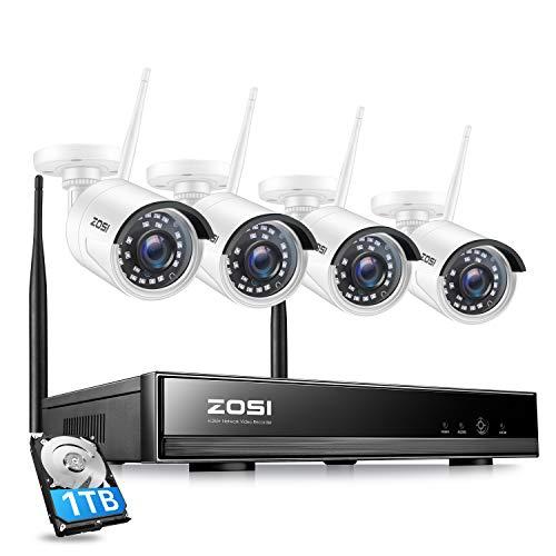 ZOSI CCTV 8CH 1080P HD Wireless NVR System Funk Überwachungsset mit 1TB Festplatte Plus 4 X 2.0MP WLAN Outdoor Netzwerk Außen IP Überwachungskamera, Kabellos