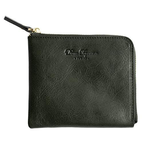 [Dom Teporna Italy] L字ファスナー 薄型 小さい財布 本革 イタリアンレザー 財布 大容量 メンズ レディース グリーン