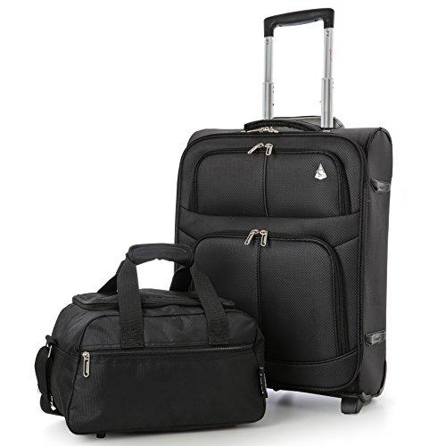 Aerolite 55x40x20 Ryanair Hächstbetrag 42L Leichter Koffer Bordgepäck Kabinentrolley, erweiterbar zu 55x40x23 48L (Gepäck-Set), 2 x Schwarz