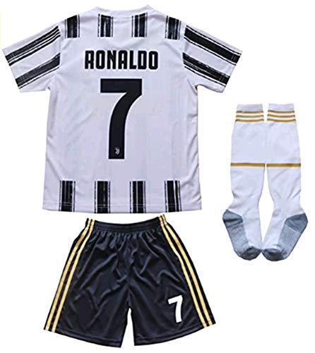 LISIMKEM 2020-2021 Kids/Youths Home Soccer Jersey/Short/Socks Colour White (Ronaldo #7(7-8years/size22))