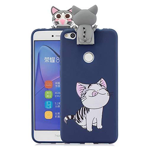 Nodigo Funda Compatible con Huawei P8 Lite 2017 Silicona 3D Animal Dibujos Motivo Creativo Ultrafina Carcasa Case Antigolpes TPU Bumper Kawaii Resistente Cover - Gato