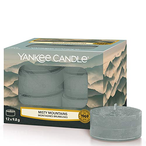 Yankee Candle Misty Mountains Velas de Té Aromáticas, Gris, 12 x 9.8g