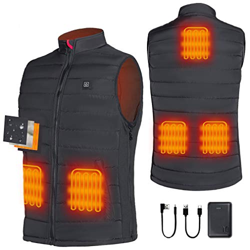 Srivb Heated Vest, Lightweight Heated Jacket with Battery Pack USB Charging Warm Clothes Heating Vest for Men Women Hiking, Fishing, Camping, Hunting, Motorcycling