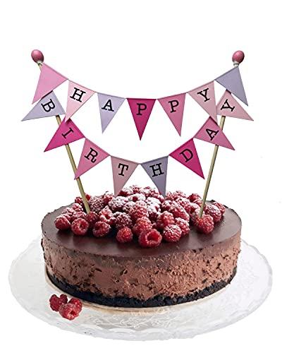 amazing buntings, Happy Birthday, Kuchen Ammer, Kuchendeckel, Flieder, Rosa, Große Fahnen, Vollständig Zusammengebaut, 236
