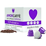 Amorcaffe 100 Nespresso Compatible Coffee Capsules Pods - Top Arabica Taste - Slow Roast