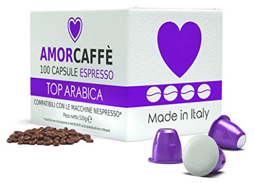 Amorcaffe 100 Nespresso Compatible Coffee Capsules Pods - Top Arabica Taste - Slow Roast