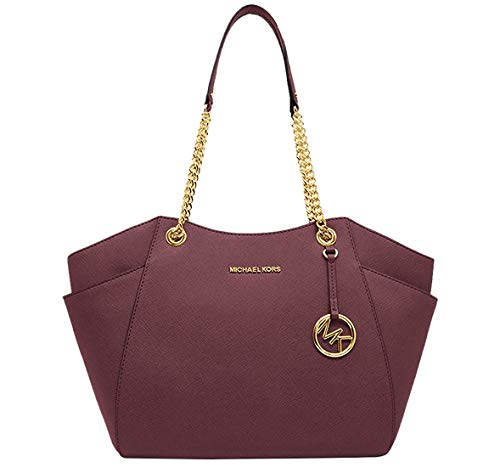"11""-16""L x 10""H x 4.5 10"" double shoulder strap drop Interior: 1 zippered pocket and 2 slip pockets Exterior: side pockets Saffiano leather with gold tone hardware"