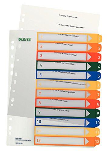 Leitz Register für A4, PC-beschriftbares Deckblatt und 12 Trennblätter, Taben mit Zahlenaufdruck 1-12, Überbreite, Weiß/Mehrfarbig, Polypropylen, 12940000