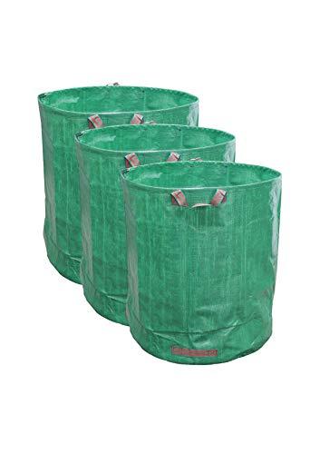 JARDTEC Multifunción Bolsas para Desechos de Jardín, Saco para Residuos, Juego de 3 Unidades con Capacidad de 272L, Sacos de jardín