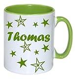 Personalisiertes/Individuelles Geschenk. Tasse Kaffeebecher Kaffee Tasse mit Namen und Sternen bedruckt - 4