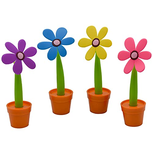 Maydahui 4PCS Flower Ballpoint Pens with Plant Pot Stand on Desk Set Blue Gel Ink Cute Creative Design Colorful for Student Kids Valentine's Day