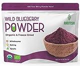 Organic Freeze Dried Wild Blueberry Powder 8 oz Ahimsa | USDA Certified | Powdered Fruit Freeze Dried Wild Blueberries | Organic Juice Powder