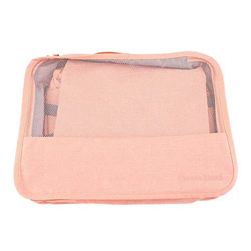 7PCS Storage Bags Cubes Set Compression Luggage Suitcase Organizer Suitcase Organizer (Pink)