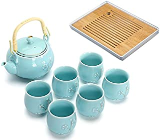 BESTLEAFTEA- Porcelain Tea Set Ceramic Teapot TeaCup KongFu Porcelain TeaSet (Blue)