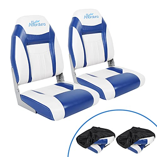 Affordura Boat Seat for Boats with 2 Covers High Back Folding Boat Seat Boat Fold Down Seat (2 Packs), Blue and White