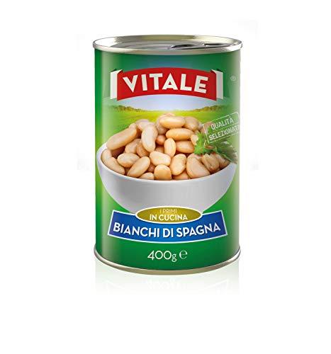24pz - Fagioli Bianchi di Spagna 'VITALE' Legumi in Latta Lattina 400g 100% ITALIANO - Made in Italy - Cartone da 24 Pezzi