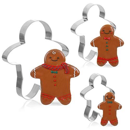 Gwhole Set de 3 Emporte-Pièces Noël Forme de Bonhomme en Pain d'épices Acier Inoxydable Moule à Biscuits Patisserie Decoupoir