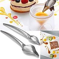 2個ドローイングスプーンを調理するシェフ、 クリエイティブデコレーションスプーンデコレーションフードドローイングツールデザインソースドレッシングテーブルデザート耐熱皿ケーキスプーンツール