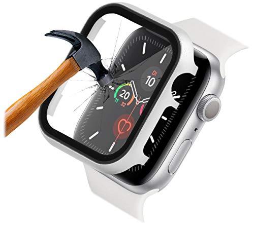 qualiquipment Aluminium Hülle mit Bildschirmschutz für Apple Watch 44mm 40mm iWatch 360° R&um Full Cover Schutzhülle mit Schutzglas Bumper Hülle (40mm, Silber)