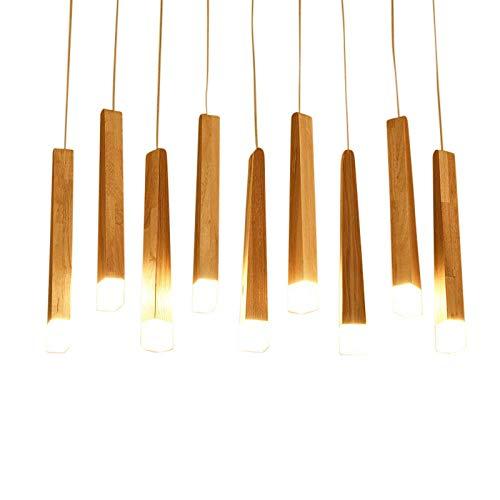 Candelabro nórdico de madera maciza de roble con cerillas, sala de estar posmoderna LED, comedor creativo, barra de bar, lámparas de arte de registro-Luz blanca 6000K_9 platos de 90 cm de largo