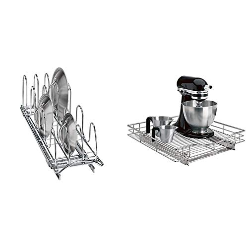 Lynk Professional Slide Out Pan Lid Holder and Pull Out Kitchen Cabinet Organizer Rack, 7.25w x 21d x 9h -inch, Chrome & Professional Pull Out Under Cabinet Organizer Sliding Shelf, 20'x21', Chrome