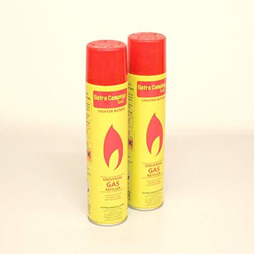 Campingman 2 x Universal Feuerzeuggas Nachfüllgas für Feuerzeuge 300 ml