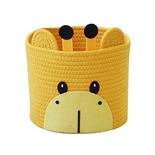 T&T Homewares Small Cute Giraffe Cotton Rope Storage Basket for Baby Diaper Organizer, Baby Laundry Baskets, Nursery Storage, Nursery Room Decor, Kids Room Organizer, Cat Dog Toy Storage