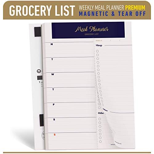 Oriday Wöchentliche magnetic meal planner notizblock mit tear off perforierte grocery einkaufsliste - 52 Bettlaken (navy blue 15.2cm x 22.8cm Mahlzeit Planungsblock)