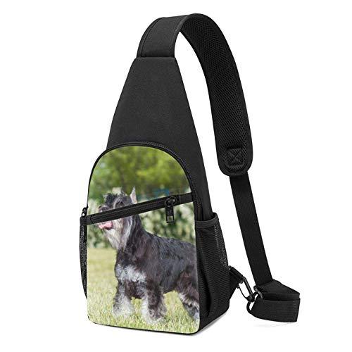 XCNGG Mochila de Senderismo Bolsa de Pecho Schnauzer Dog On The Grass Printed Sling Backpack,Lightweight Shoulder Chest Backpack Travel Hiking Bag Crossbody Shoulder Bag