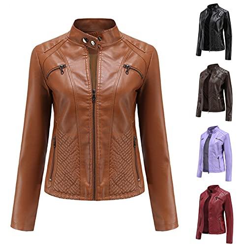 POLPqeD Parka Mujer Chaqueta Amarillo Mujer Cuello de Solapa Biker Mujer Biker Mujer Chaqueta de Mezclilla Mujer Cuero Outwear Abrigos 5 Colores Anorak Invierno Mujer S,M,L,Xl,Xxl
