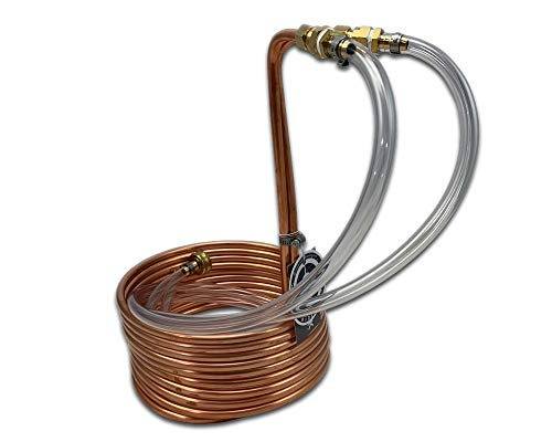 COLDBREAK CB5 25' Immersion Wort Chiller, 14-inches Tall, Pure USA Copper, Compression Barb Fittings, Leak Free, 3/8', 25-foot