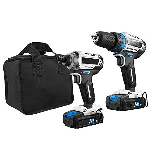 Cordless Brushless Drill/Driver Set Combo Kit 20 Volt Lithium-Ion Battery Heavy-duty More Power Faster Gift for Dad, DIYers, Homeowner 10-inch Portable Storage Bag Ergonomic Design Easy to Hold