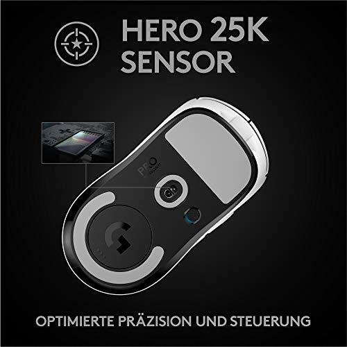 Logitech G PRO X SUPERLIGHT kabellose Gaming-Maus mit HERO 25K Sensor, Ultra-leicht mit 63g, 5 programmierbare Tasten, 70 Stunden Akkulaufzeit, Zero Additive PTFE Feet, Weiß, PC/Mac