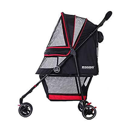 ROODO Escort Pet Stroller Dog and cat pet Three-Wheeled cart - Lightweight, Compact, Portable, Practical, Removable, Change Color (Black special edition) 7