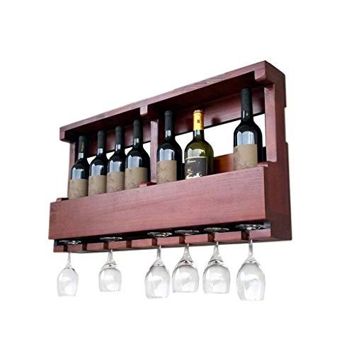 Estantes para vino Gabinete de madera de pared independiente, soporte para estante de almacenamiento de botellas de champán vintage, con capacidad para 8 botellas de vino y 8 copas, marrón rojizo,