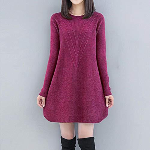 Vestido de Mujer Suéter Negro para Mujer, Vestido de Punto Informal Suelto, Nuevo para Mujer de Talla Grande, Cuello Red