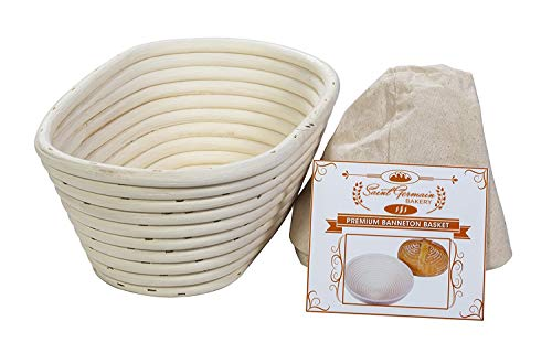 (10 x 6 x 4 inch) Premium Oval Banneton Basket with Liner - Perfect Brotform Proofing Basket for Making Beautiful Bread