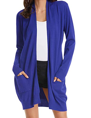 Womens Casual Lightweight Long Sleeve Cardigan Knit Sweater Shrugs Blue XXL