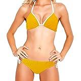 Conjuntos de bañador de Dos Piezas con Bikini con Cordones para Mujer, líneas de Zoom de cómic Amarillas